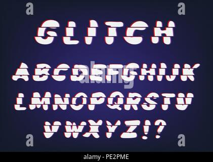 Vector Handwritten Glitch font with distortion effect Latin letters