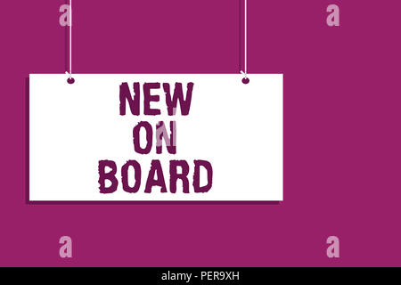 Handwriting text writing New On Board Concept meaning Welcome to