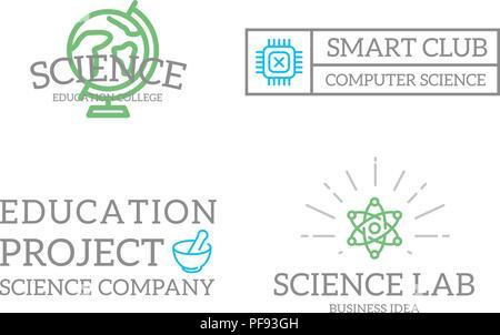 Set of retro vintage chip, atom, tube, molecule, lab logo or - molecule vs atom