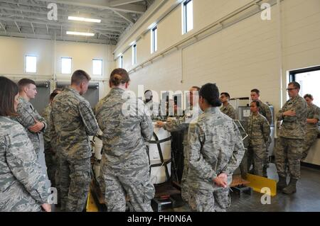 Cadets from multiple colleges tour the 403rd Wing while completing a - shadowing jobs