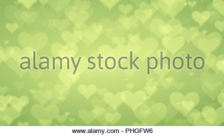 Soft Green Hearts On Light Graduated Background Valentines Day