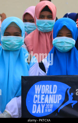 Volunteers seen participating during the world clean up day World
