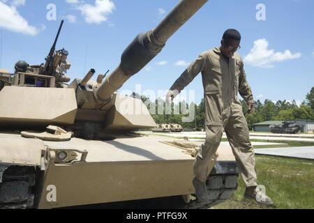 A US Marine Corps tank crewman with 1st Tank Battalion, Marine Air