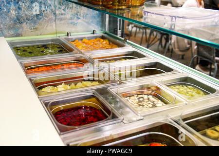 Salad Bar Fresh Vegetables Healthy food at a buffet table Mix