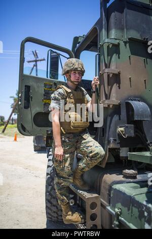 US Marine Pfc Heather Bartulewicz, a motor transport operator