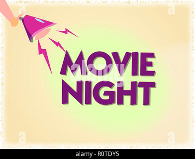 Word writing text Movie Night Business concept for Casual informal