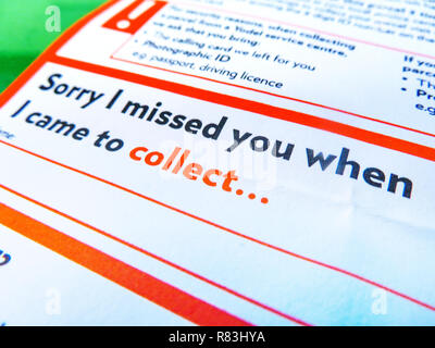 Yodel parcel delivery note for missed home delivery Stock Photo