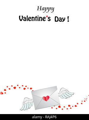 Happy Valentine\u0027s Day template Closed heart stamped envelope with