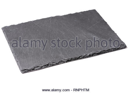 Square slate tray, white background Dark gray slate plate over