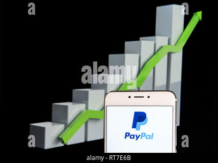 Paypal logo is seen on an android mobile phone over stock chart