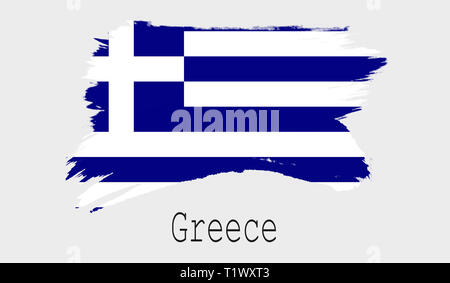 Waving ribbon or banner with flag of Greece Template for poster