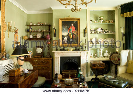 Shelves On Either Side Of Fireplace In French Country