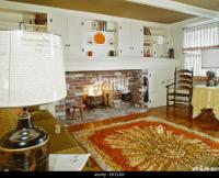 1960s INTERIOR OF LIVING ROOM WITH SHAG AREA RUG FIREPLACE ...
