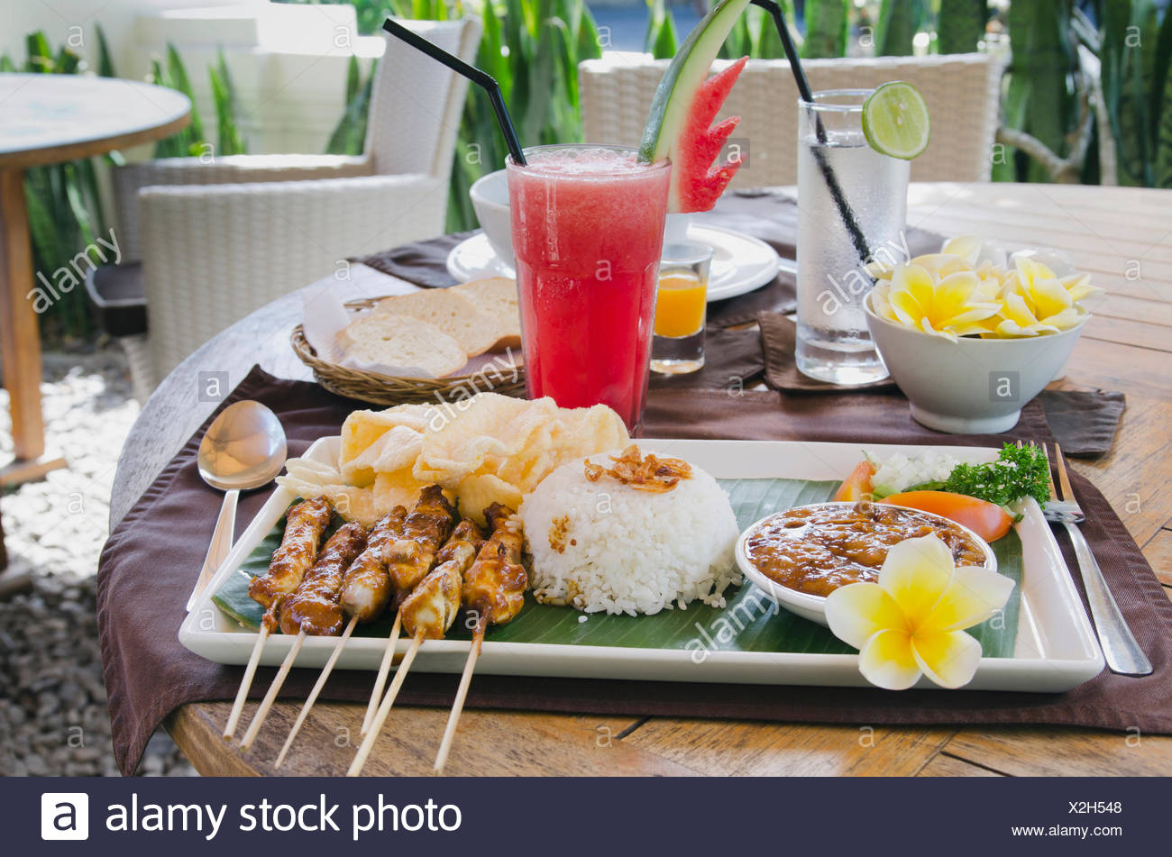 Cuisine Bali Chicken Satay Chicken Skewers With Rice Indonesian Cuisine At A