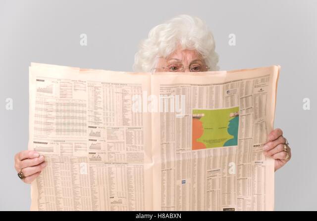 Business Woman Economic Newspaper Stock Photos  Business Woman