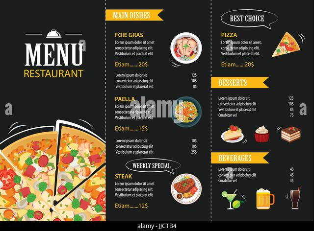 Pizza Menu Template Vintage Card Chef Stock Photos  Pizza Menu - Sample Pizza Menu Template