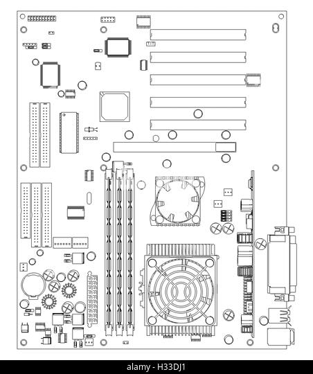 stock photo printed circuit board and precision tools on diagram of