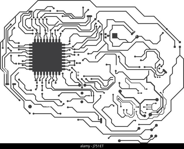 green circuit board with electronic components such as microchips