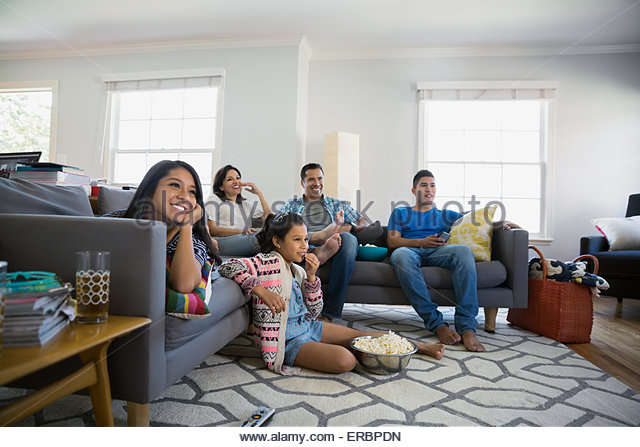 Family Watching Tv Stock Photos & Family Watching Tv Stock