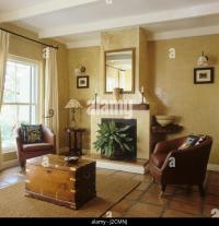 Leather Chair Fireplace Stock Photos & Leather Chair ...