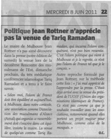 Article l'Alsace  réaction ROTTNER venue Tariq RAMADAN