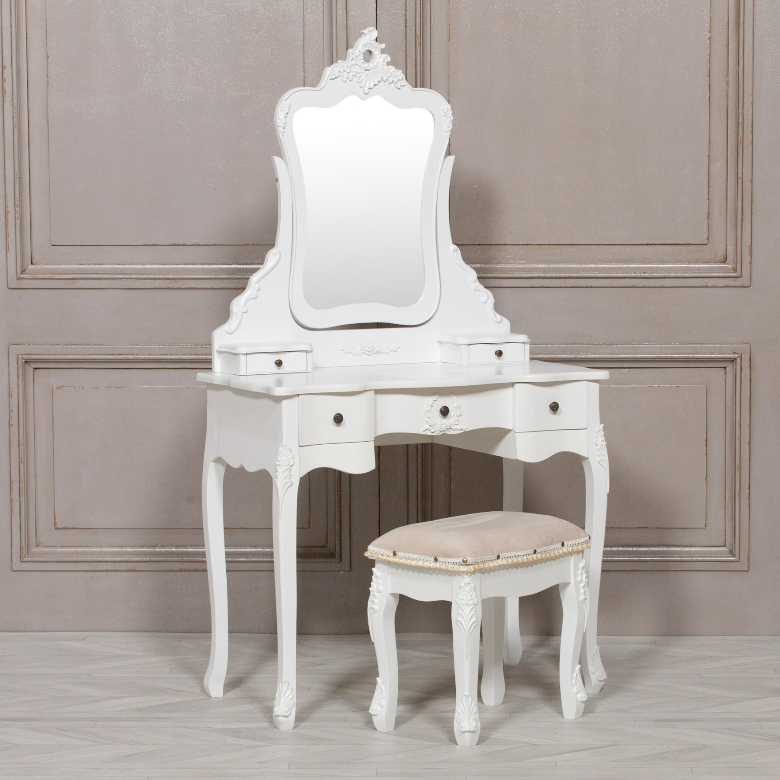 Dressing Maison Annabelle French Style White Dressing Table And Stool