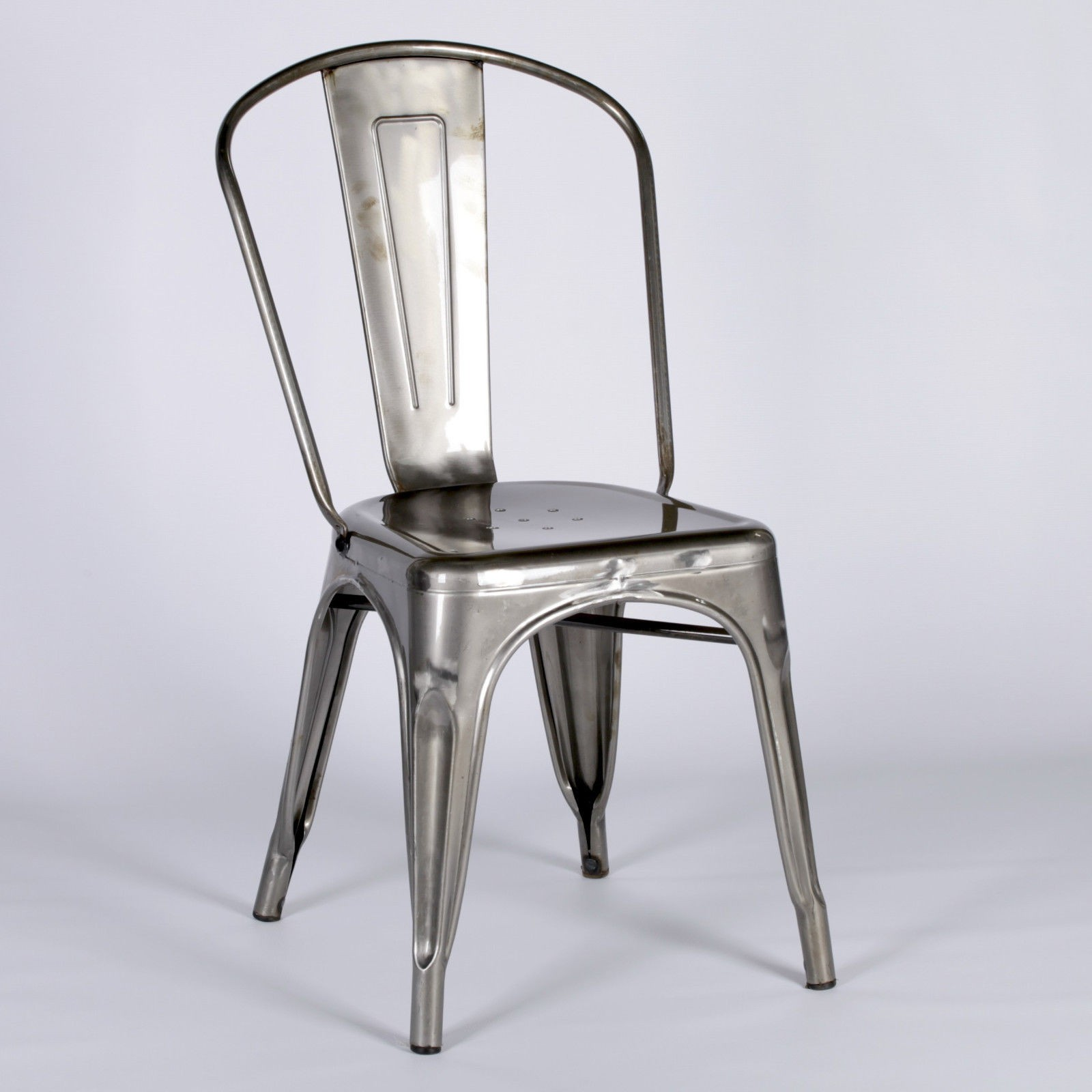 Industrial Look Chairs Vintage Style Metal Steel Industrial Cafe Dining Chair
