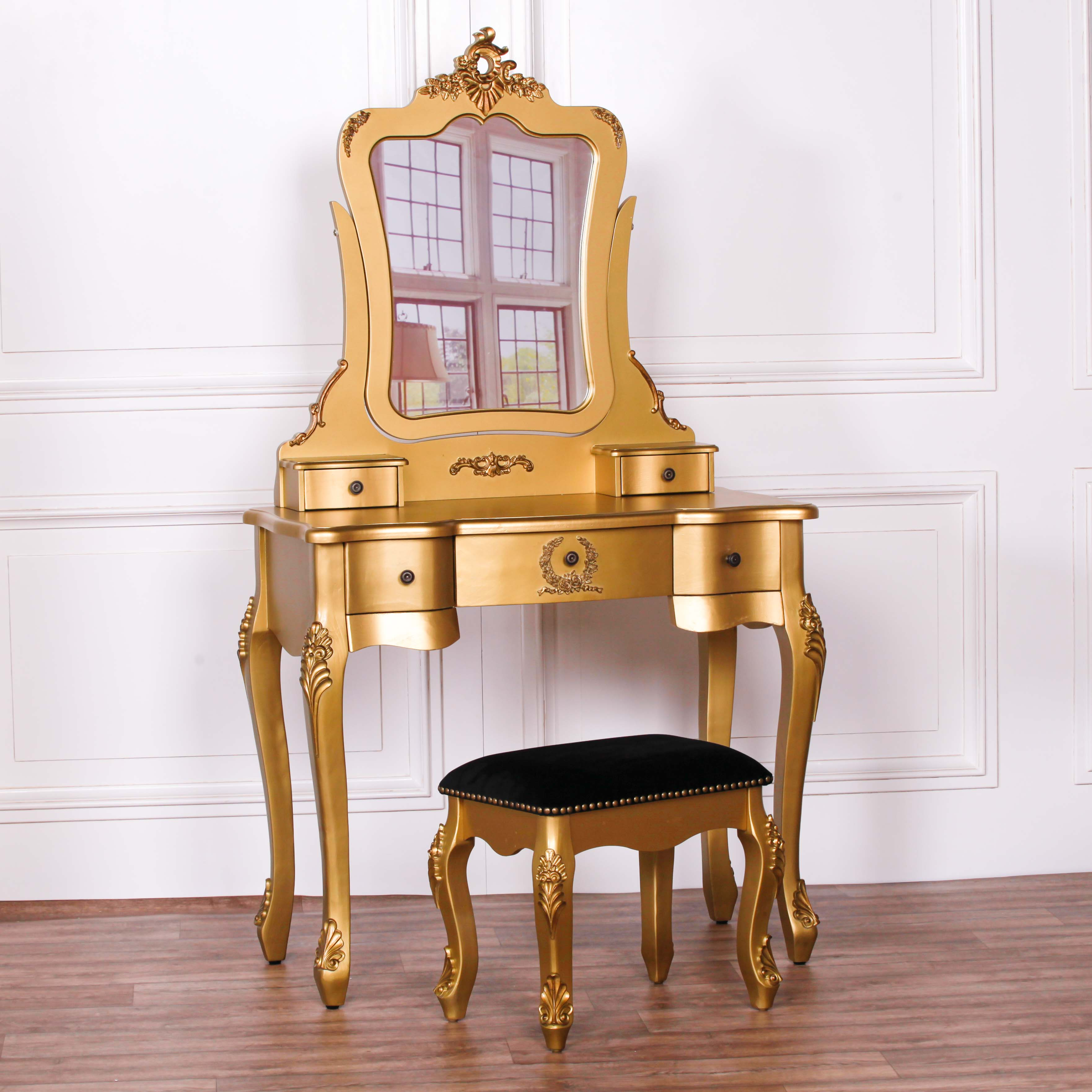 Dressing Maison French Style Gold Dressing Table And Stool