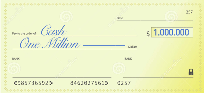 Here is your check for all of One Dollar!!