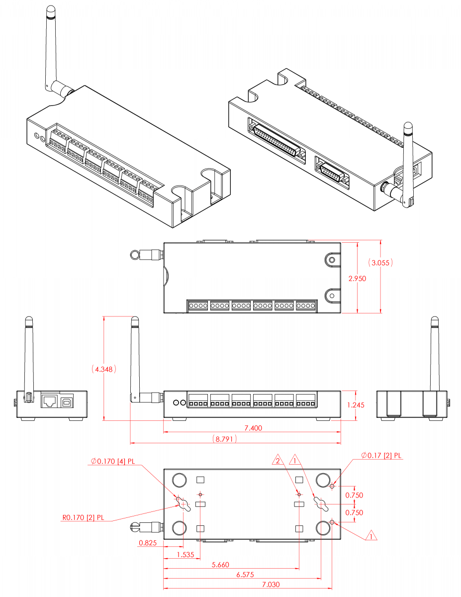 2??cad??? B 2 T7 Drawings And Cad Models T Series Datasheet Labjack