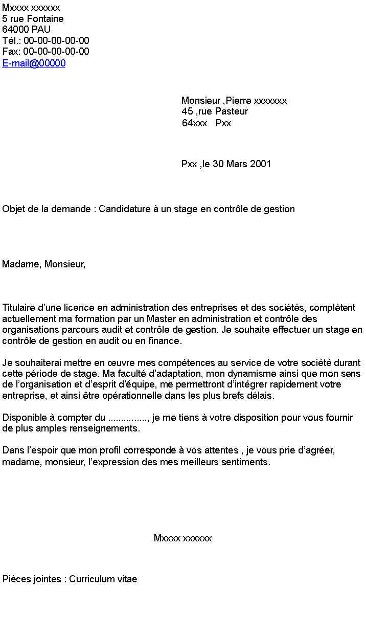 Gestion Alternance Lettre De Motivation Controle De Gestion Alternance