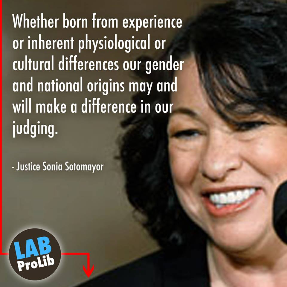 Whether born from experience or inherent physiological or cultural differences our gender and national origins may and will make a difference in our judging.  – Justice Sonia Sotomayor