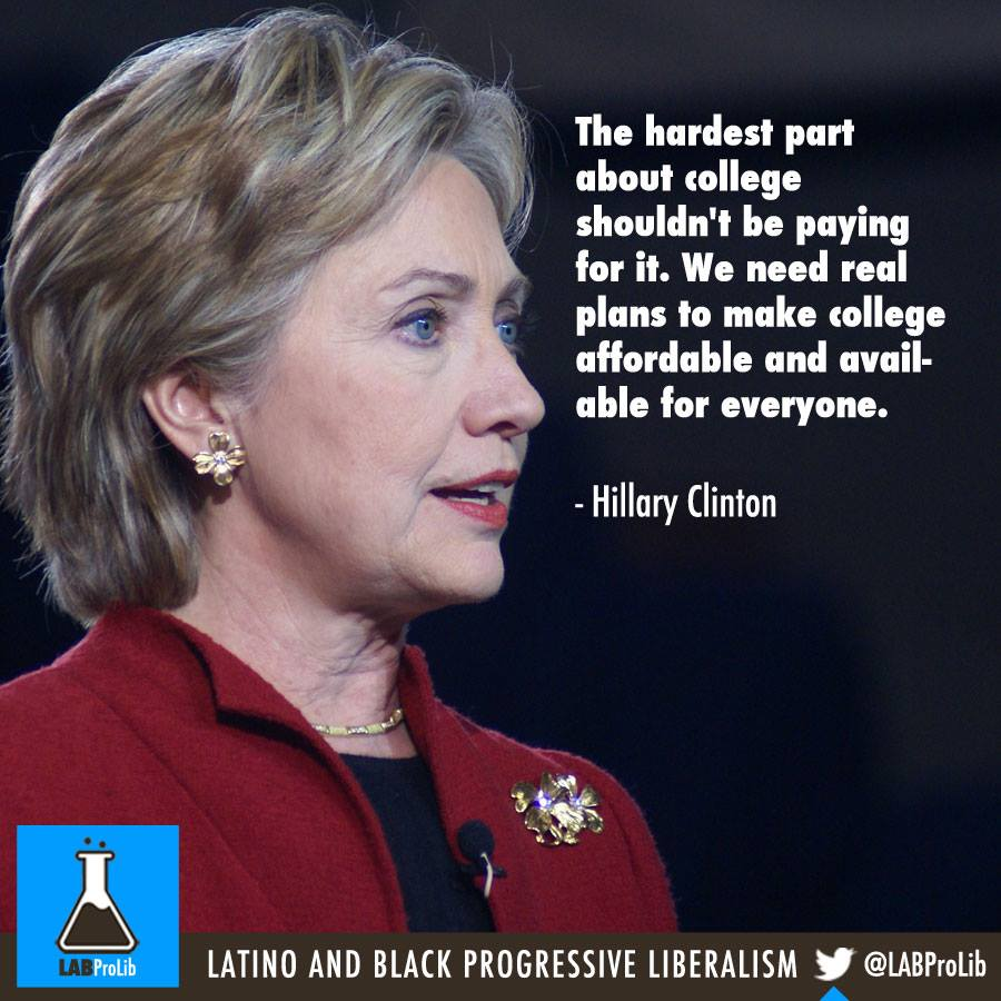 The hardest part about college shouldn't be paying for it. We need real plans to make college affordable and available for everyone. - Hillary Clinton