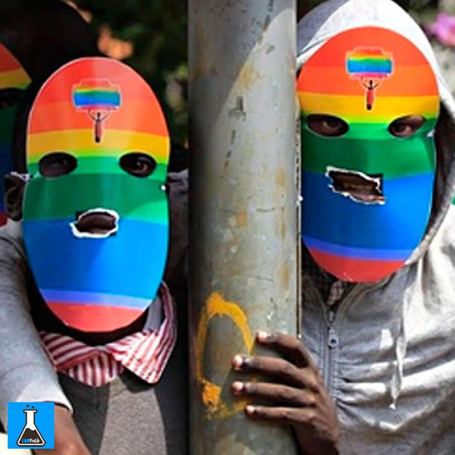 Masked Kenyan supporters of the LGBT community protest against Uganda's anti-gay bill in front of the Ugandan high commission in Nairobi, Kenya. Photograph: Dai Kurokawa/EPA