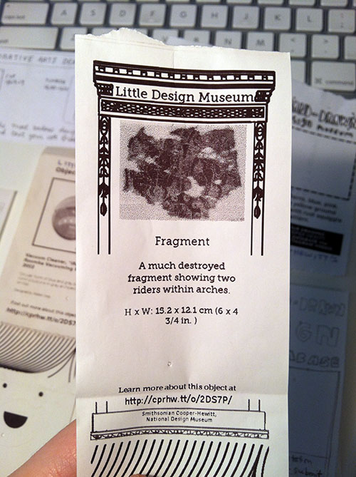 little printer printout with a collecitons object in the middle and graphics that borrow from the carnegie mansion architectural details.