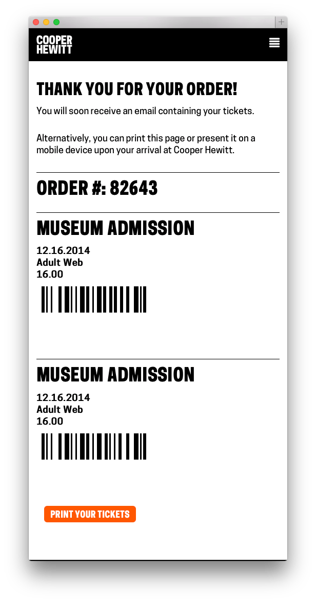screen shot of a webpage with order number and a barcode for each ticket.