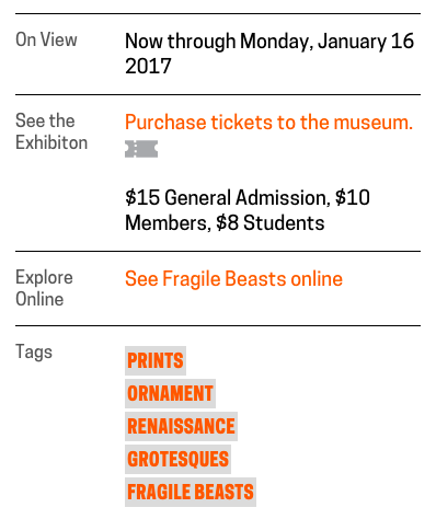 Screenshot of the sidebar on the <em>Fragile Beasts</em> exhibition channel page.