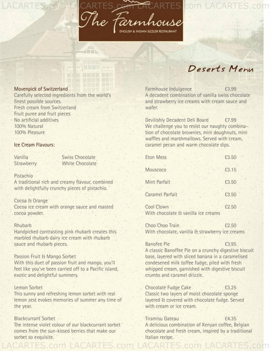 Farmhouse Coventry 5 Of 7 Price Lists Menus The Farmhouse English Indian