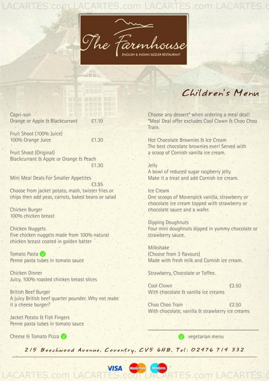Farmhouse Coventry 7 Of 7 Price Lists Menus The Farmhouse English Indian