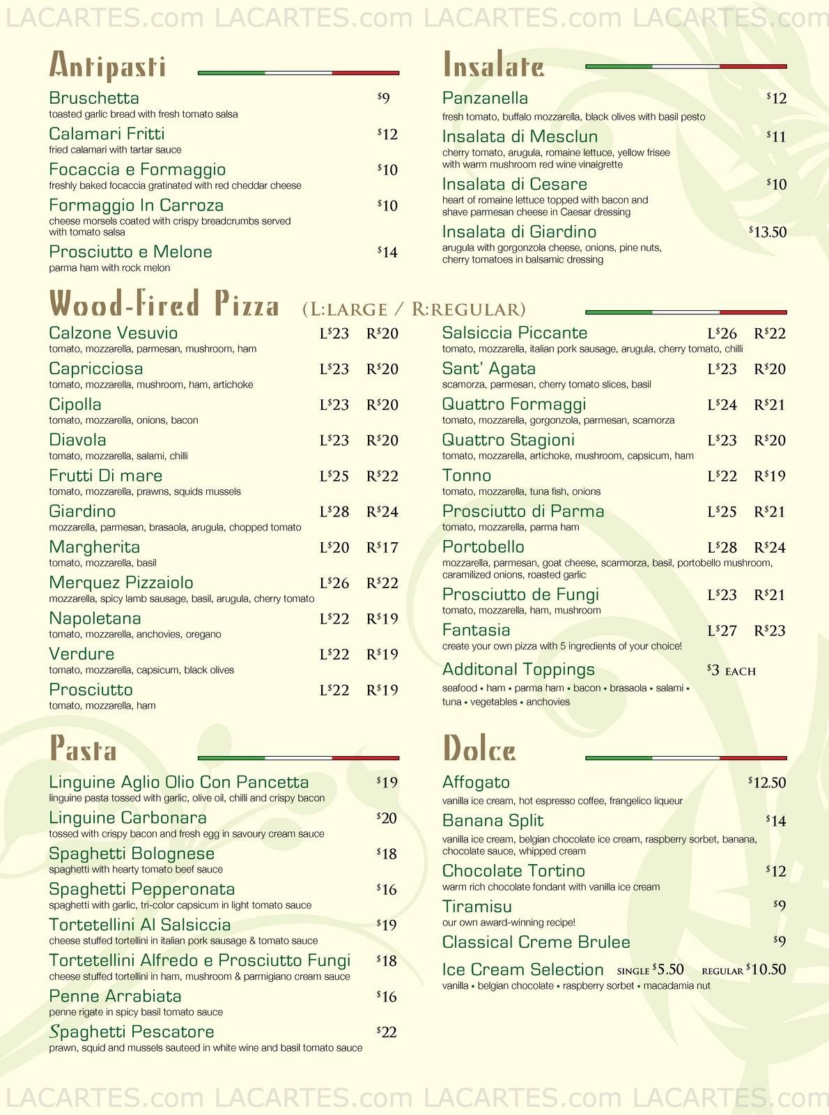 Giardino Prices 1 Of 2 Price Lists Menus Pizzeria Giardino 01 30 Chijmes Dine In