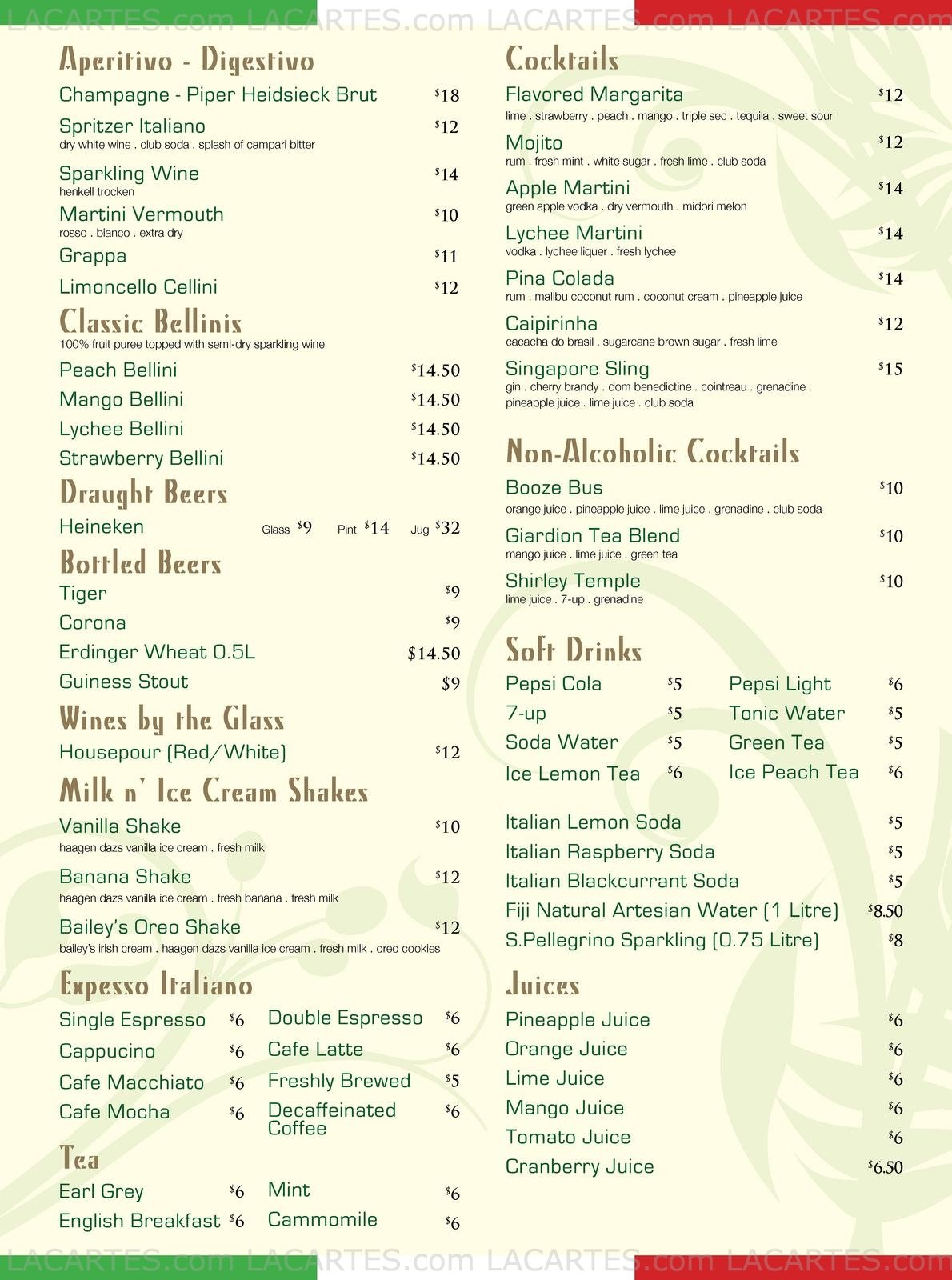 Giardino Prices 2 Of 2 Price Lists Menus Pizzeria Giardino 01 30 Chijmes Dine In