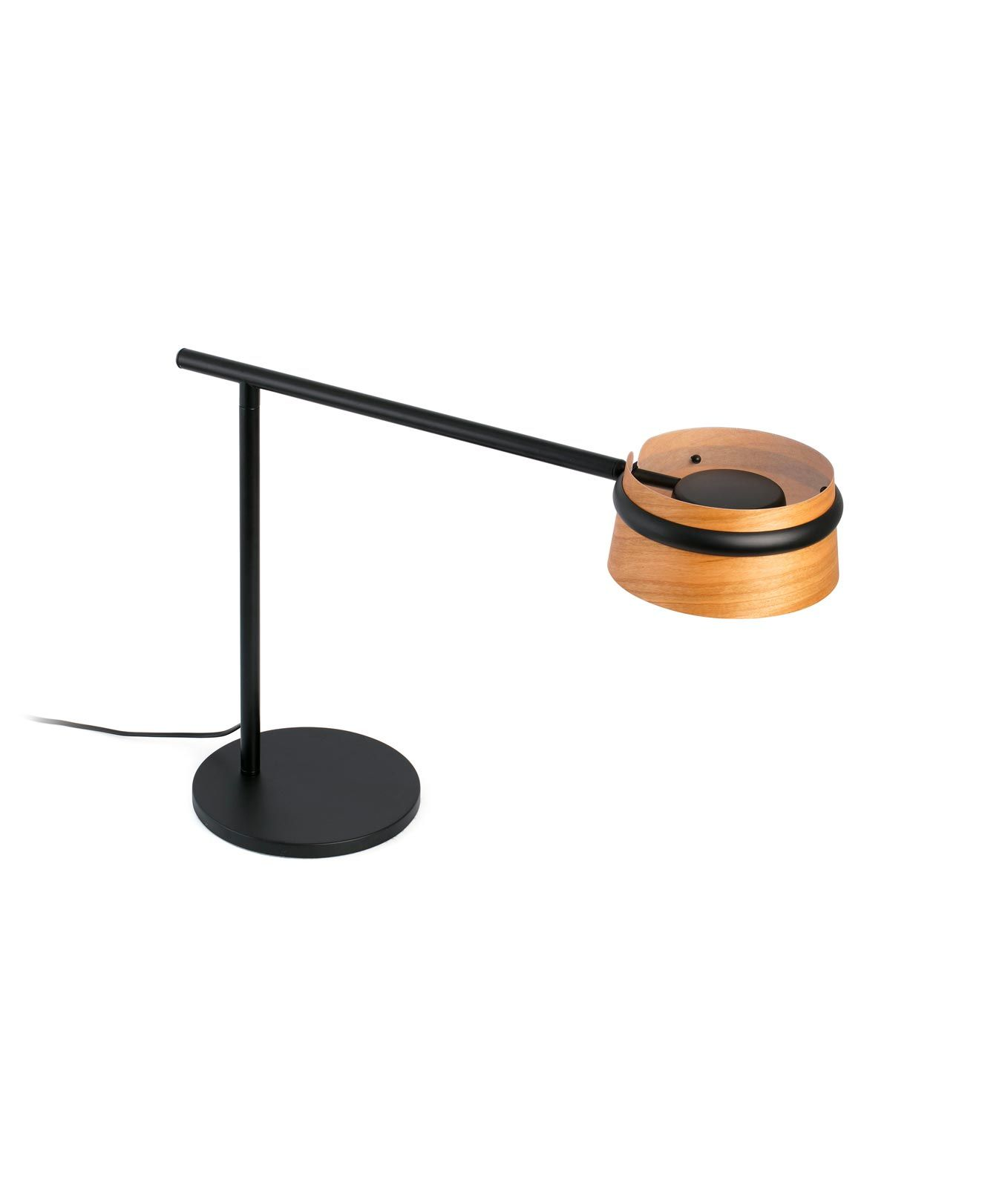 Lampara Mesa Led Lámpara Mesa Negra Y Madera Loop Led La Casa De La Lámpara