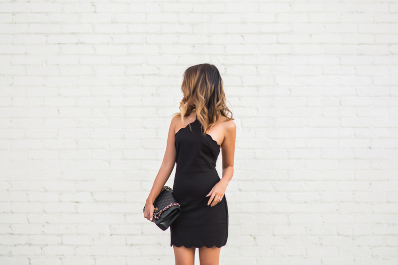 petite fashion blog, lace and locks, los angeles fashion blogger, scallop dress, little black dress, urban outfitters dress, date night dress