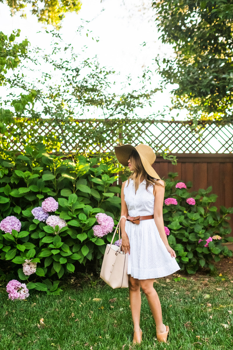 petite fashion blog, lace and locks, los angeles fashion blogger, napa travel diary, napa wine tasting fashion, traveling fashion blogger, white shirt dress, big floppy hat, summer outfit ideas