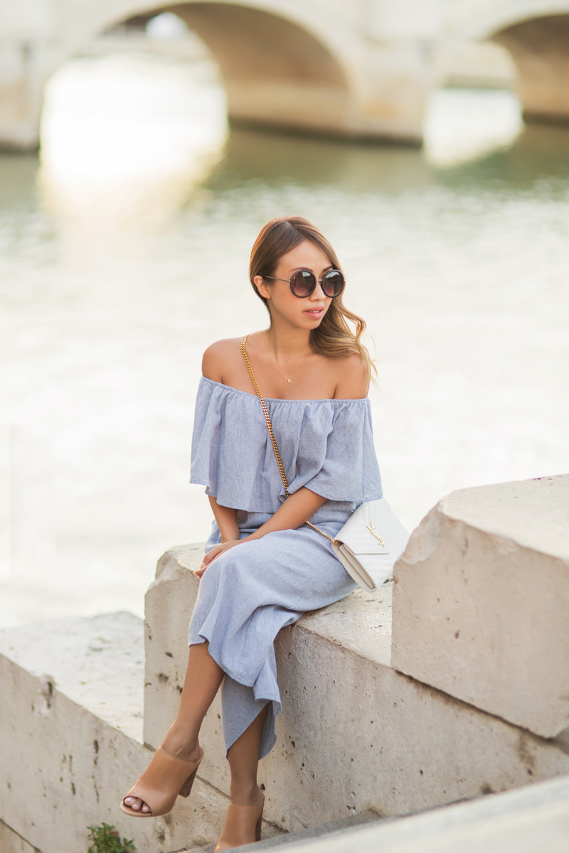 petite fashion blog, lace and locks, morning lavender, off the shoulder jumpsuit, culotte jumpsuit, cute off the shoulder, travel blogger, paris blogger