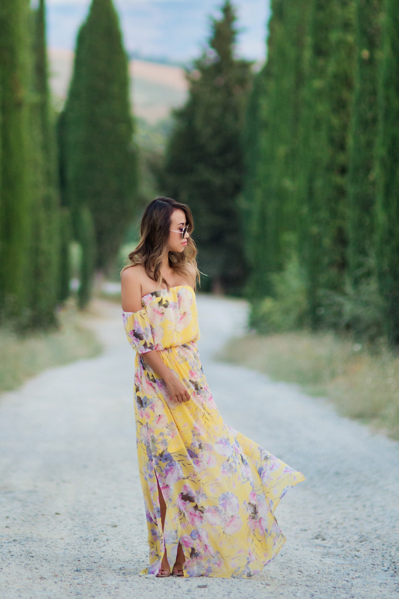 petite fashion blog, lace and locks, off the shoulder floral maxi dress, yellow maxi dress, morning lavender dress, cute maxi dresses, tuscany travel blogger