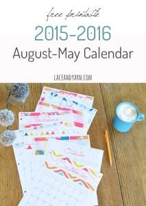 Free printable 2015-2016 MOPS year 10 month calendar | laceandyarn.com