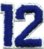 1 1/4'' by 1 3/8'' Royal Blue with White Edge Iron On Number 12 Applique1 1/4'' by 1 3/8'' Royal Blue with White Edge Iron On Number 12 Applique