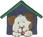 2'' by 1 3/4'' Iron On In The Dog House Applique2'' by 1 3/4'' Iron On In The Dog House Applique