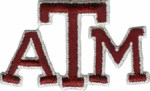 3 1/8'' by 1 7/8'' ATM Texas University Iron On Applique3 1/8'' by 1 7/8'' ATM Texas University Iron On Applique
